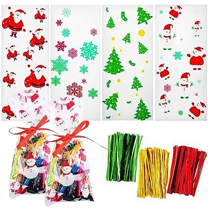 Gudotra 200pcs Santa Claus Bolsas Transparentes Candy Christmas Bolsas de Regalo de Plástico Sacos de Navidad Cumpleaños Niños