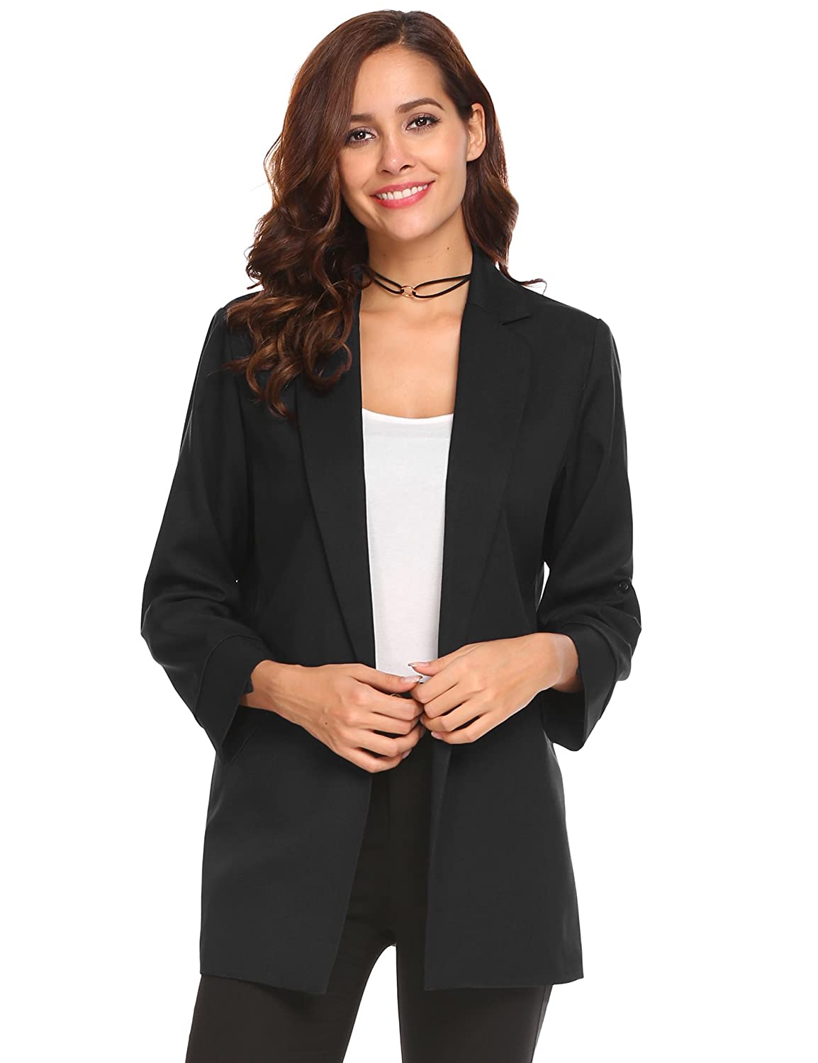 54f9e6d2052b Shoulder with pad design women suit coat. Roll up sleeve design women suit  coat, suitable for office or casual wear. Business lapel front open 3/5  sleeve ...