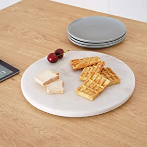 KES Marble Lazy Susan Turntable, 12.6 Inch Kitchen Rotating Spice Rack with Ball Bearings, Cheese Dessert Fruit Decorative Tray, SLS300-KES