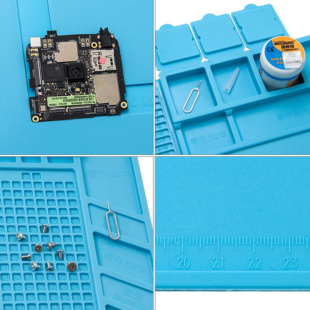 Project Mat Soldering Station Heat Insulation Silicone Pad Parts & Screws Sorting Keeping Magnetic Mat for Cell Phone Repair Computer Repair, with Free Anti-Static Tweezer (DarkCyan) by Gary&ghost (Image #3)
