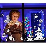 ilka parey wandtattoo-welt® Fensterbild Fensteraufkleber Weihnachten selbstklebend Fensterdeko Weihnachtsdeko Sterne Elche Rentiere Schneeflocken weiß M1230