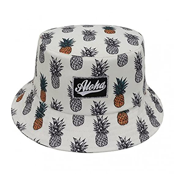 cbcab03f67a Hatphile City Trendy Bucket Hat Large Pineapple Hawaii Aloha White   Amazon.in  Clothing   Accessories