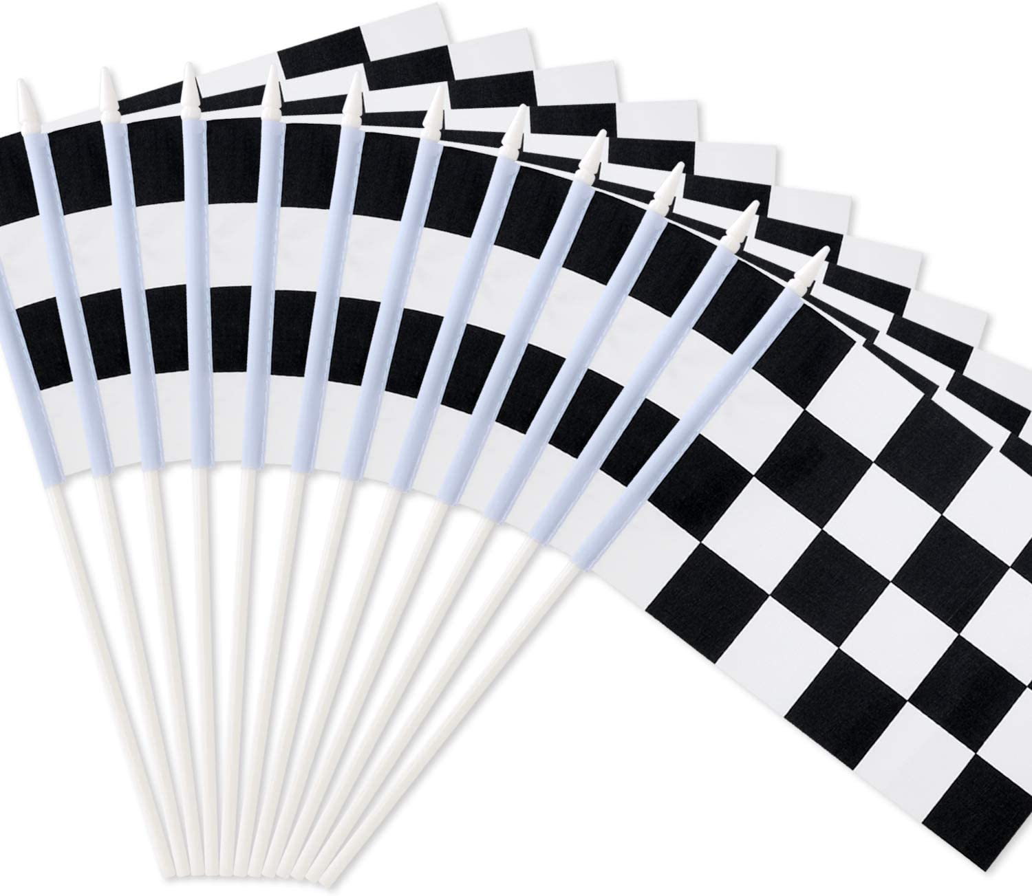 Waving Checkered FLAG Auto Racing VINYL DECAL STICKER 6inch 2 Pack Adhesive