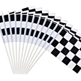 "Novelty Place 8""x5.5"" Checkered Black and White Racing Stick Flag - Plastic Stick - Decorations for Racing, Race Car…"