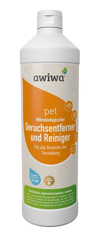 awiwa Pet Bio antiodeur Nettoyant désodorisant pour Chiens et Chats (testé dermatologiquement très Bien, 1L Concentré, 1: 10) 1: 10)