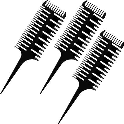 3 Peine de Hacer Reflejos Cabello en 3 Vías Peine de Reflejos en 3 Lados Peine de Tejer Dividir Frustrar Peine de Tinte de Cabello de Peinado para ...