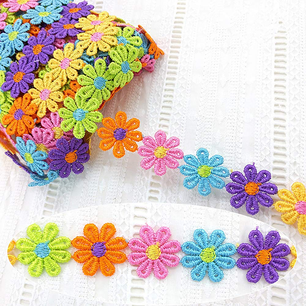 1 Yard Embroidery Colorful Daisy Flower Lace Ribbon Edge Trim 2.5 cm Width Edging Trimmings Patch Applique Sewing Craft Wedding Bridal Dress Bags Hat Jeans Embellishment DIY Dreamshome