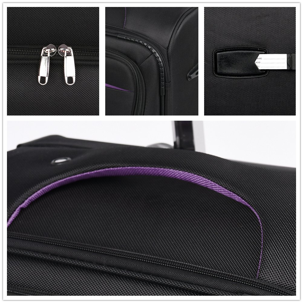 LuggageSetSuitcaseSet3PieceLuggageLightweightSoftShellwith4RollingSpinnerWheelsSuper Durable (20inch,24inch,28inch) (Black & purple) by LEMOONE (Image #4)