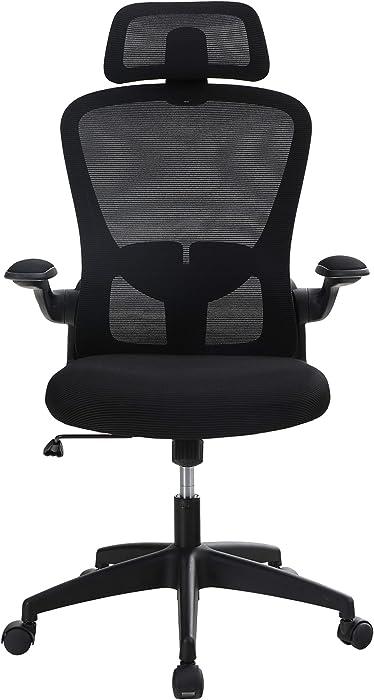 Sophia & William Ergonomic Rocking Mesh Home Office Desk Chair High Back, Modern 360° Swivel Executive Computer Chair Flip-up Armrests, Adjustable Lumbar Support & Headrest, Load Capacity: 300 lbs