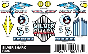 Pinecar Stick-On Decals, Silver Shark, PIN325
