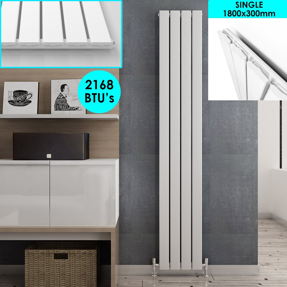 1600 x 452 mm White Vertical Column Radiator Double Flat Panel Designer Bathroom Radiator ELEGANT