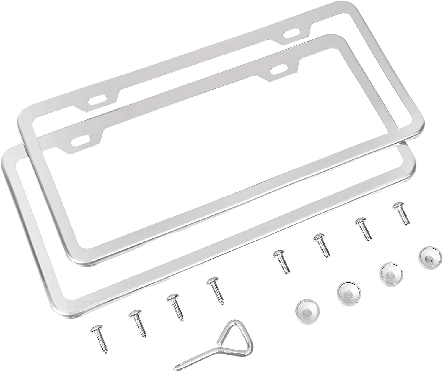 12.2 x 6.3 Silver 2-Hole Basics Stainless Steel License Plate Frame Pair with Screw Caps
