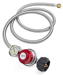 GASPRO 5 Foot 0-30 PSI High Pressure Adjustable Propane Regulator with Gauge/Indicator, Stainless Steel Braided Hose, Gas Grill LP Regulator for Burner, Turkey Fryer, Forge, Smoker and More.