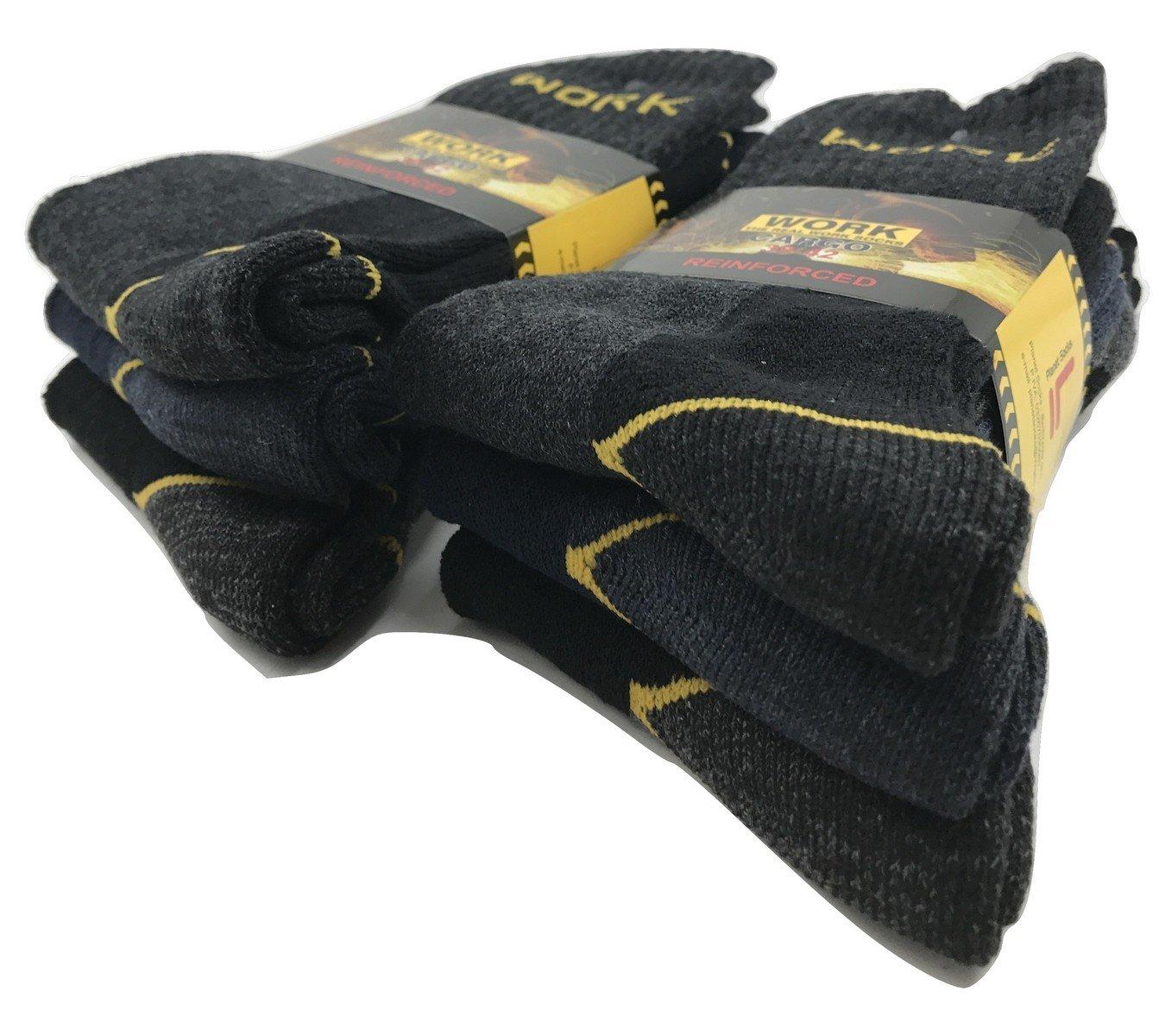 Work - Calcetines de trabajo reforzados (6 pares, esponja de algodón de refuerzo en talón y punta) 43-46: Amazon.es: Deportes y aire libre