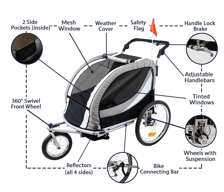 Amazon.com: Clevr 3 en 1 doble 2 asiento bicicleta remolque ...