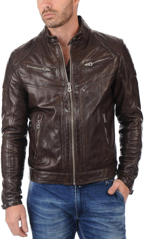 Kingdom Leather Men Motorcycle Lambskin Leather Jacket Coat Outwear Jackets X784