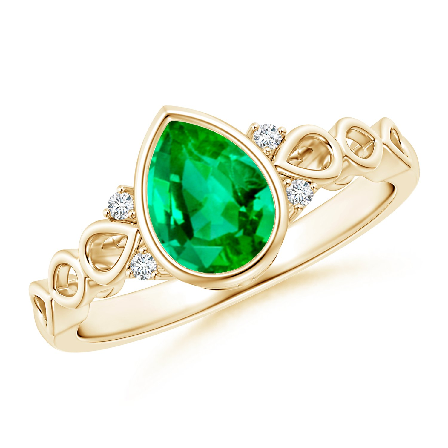 May Birthstone - Bezel Set Vintage Pear Emerald Ring for Women with Diamond Accents in 14K Yellow Gold (8x6mm Emerald)