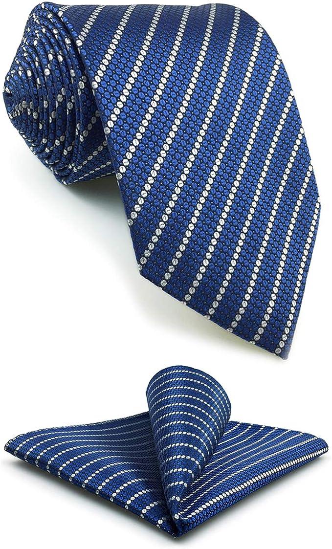 S&W SHLAX&WING Rayas Corbatas Para Hombre Azul Plateado Set for ...