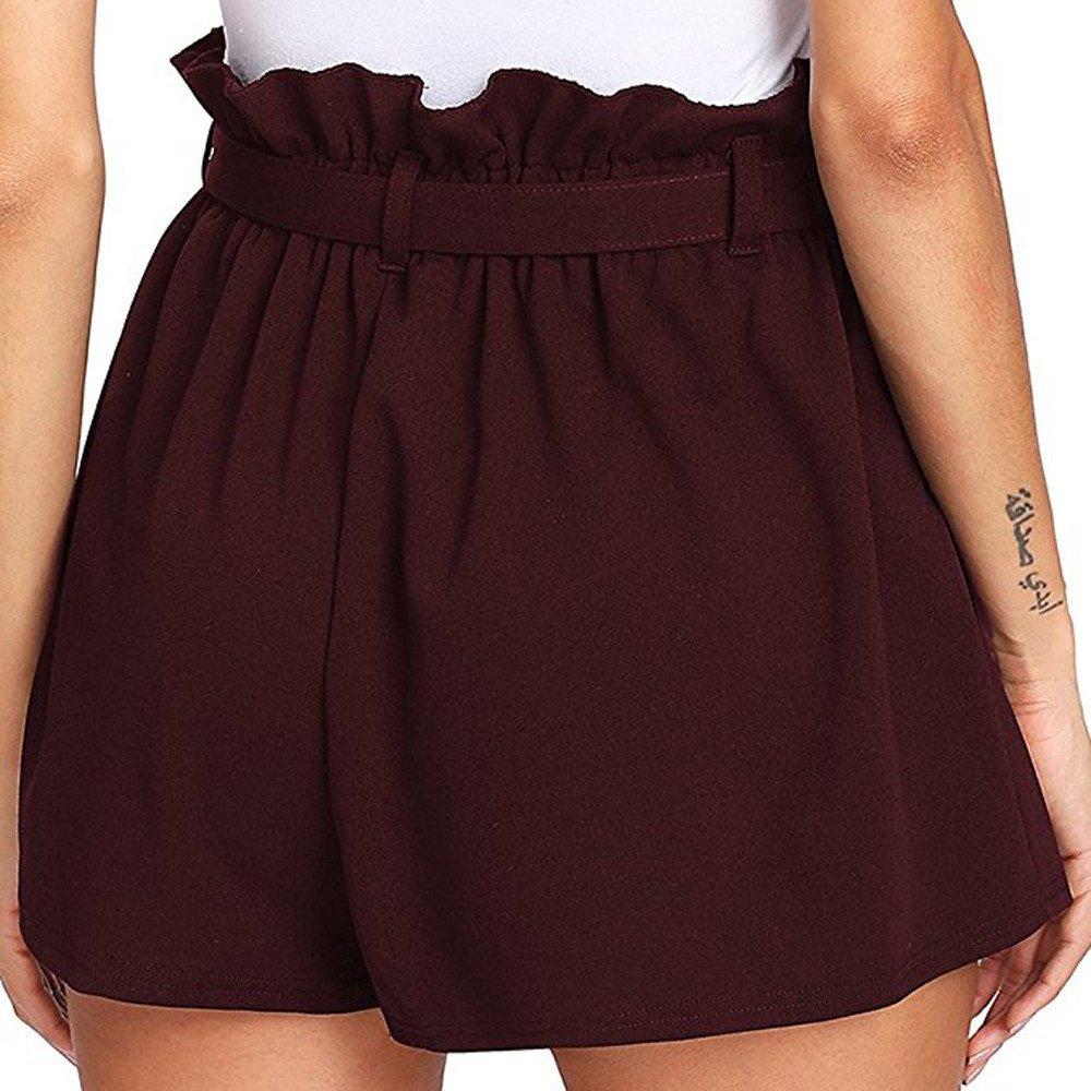 Sunenjoy Femme Shorts Taille Haute Pantalon D/ét/é Court Casual Bermudas L/âche avec Ceinture
