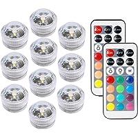 COOLEAD 10Pcs RGB LED Luz Sumergible Control Remoto