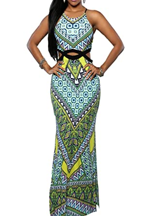 29f3e43a2a7 Vshop-2000 Women s African Print Dashiki Split Dreeses Two Piece Set for  Gown Night