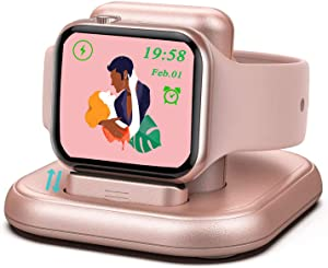 LUKKAHH Charger Stand for Apple Watch,Magnetic Wireless Charging Station,Compatible with iWatch Apple Watch SE Series 6/5/4/3/2/1/44mm/42mm/40mm/38mm,Night Stand Charging Dock - Rose Gold
