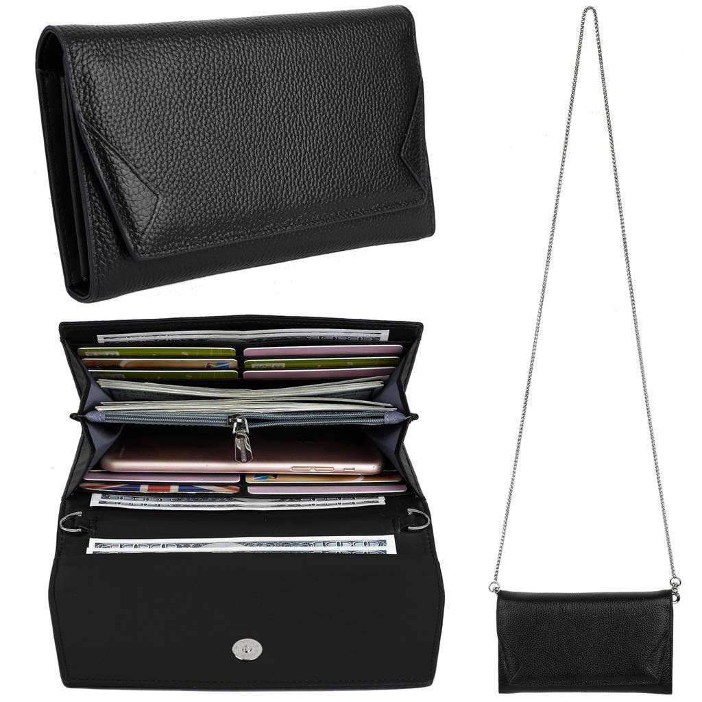 YALUXE Women's RFID Blocking Security Leather Smartphone Wristlet Crossbody Clutch Wallet Black