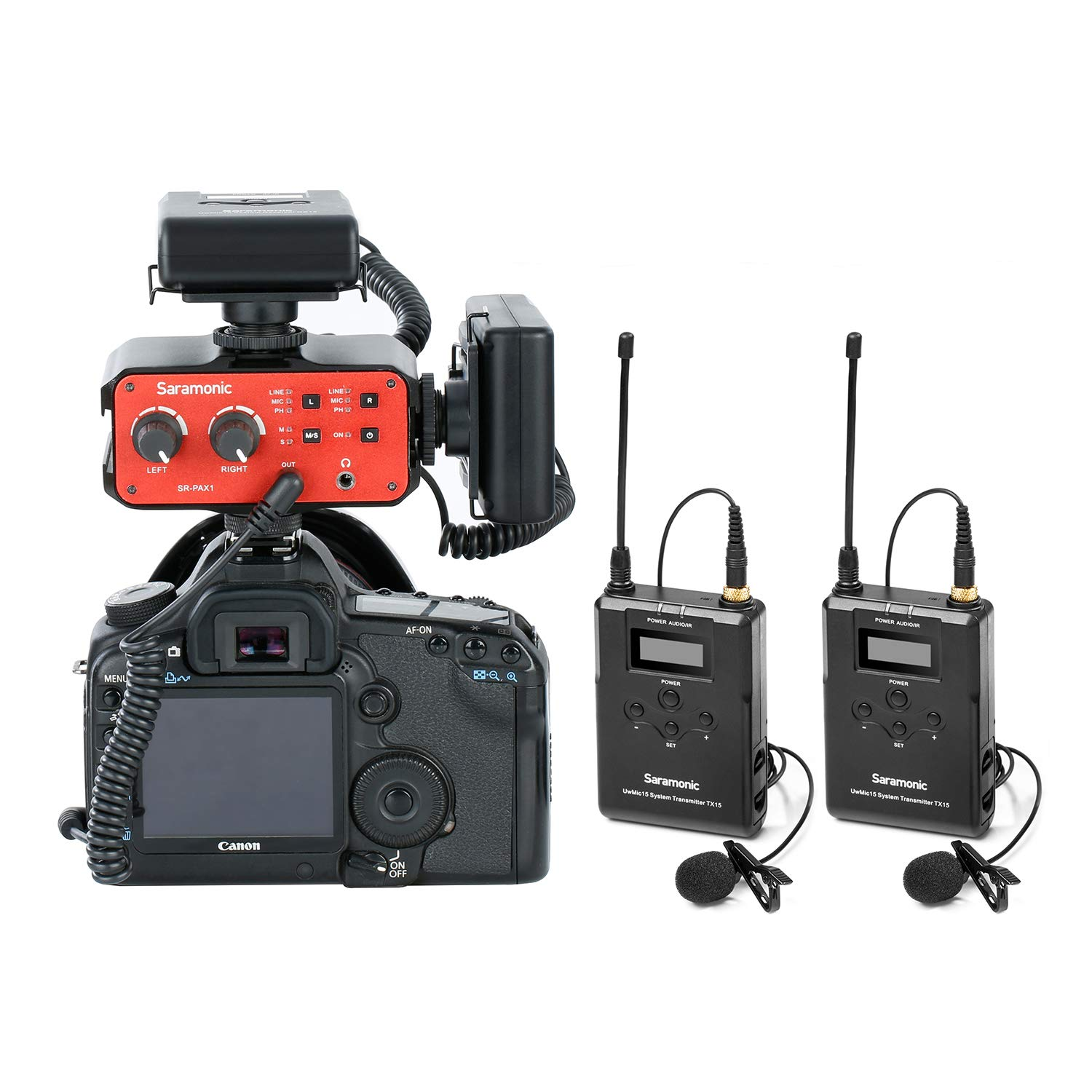 Saramonic Wireless UHF Dual Lavalier Microphone System with 2 Bodypack Transmitters, 2 Portable Receivers, and a Premium Audio Mixer for DSLR Cameras & Camcorders