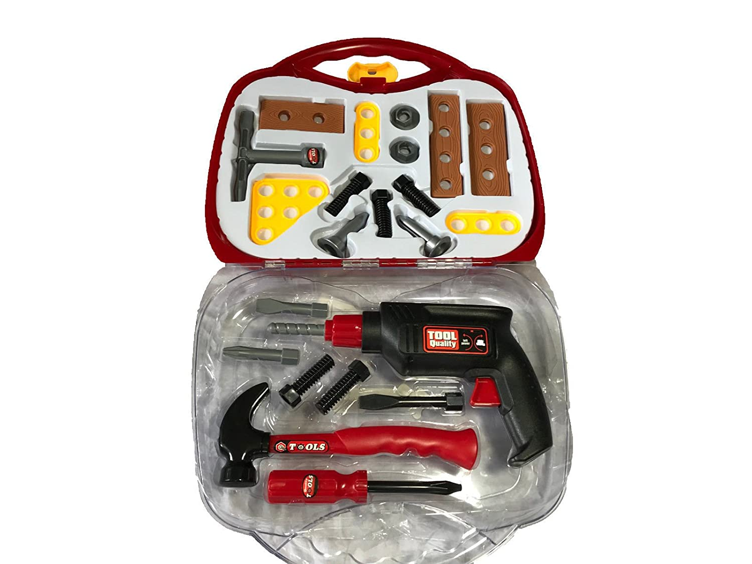 22 Piece Kids Tool Set in Hard Case with Rotating Drill Boys Builder DIY Construction Role Play Toy Quickdraw QDS-Z00D