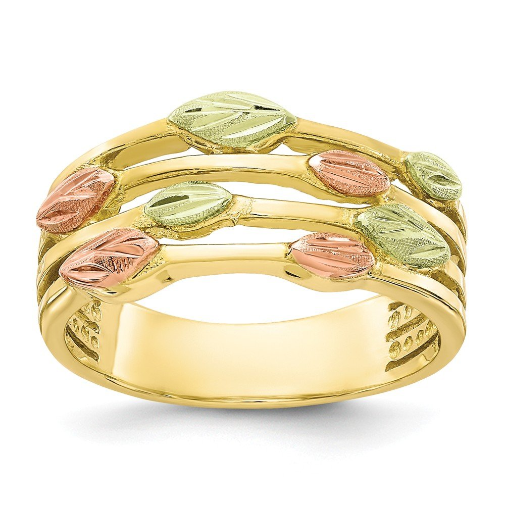 Jewels By Lux Anillo de Oro 10K Tri-Color Black Hills para Mujeres ...