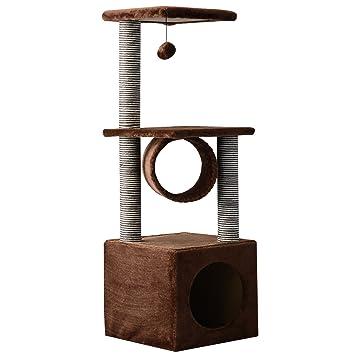 PawHut Árbol para Gatos Rascador Grande con Plataformas Casetas Bolas de Juego 104cm Tablero de partículas Cubierto de Felpa Beige: Amazon.es: Jardín