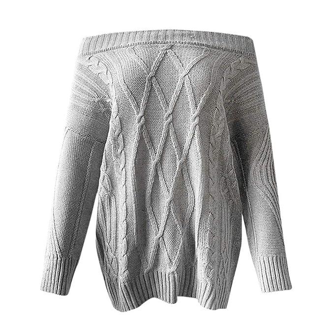 Mujeres Tops Rovinci Mujeres Cómodas Casual Moda Otoño Manga Larga Sexy Manga Larga de Hombro Suelto Cable Suéter de Punto Suéter Blusa S-XL: Amazon.es: ...