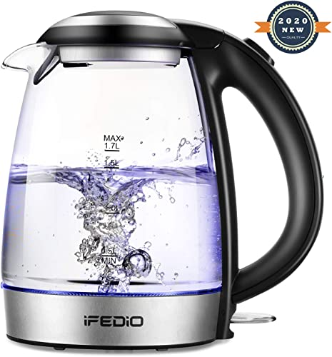 iFedio Electric Kettle 1.7L Cordless Glass Water Boiler