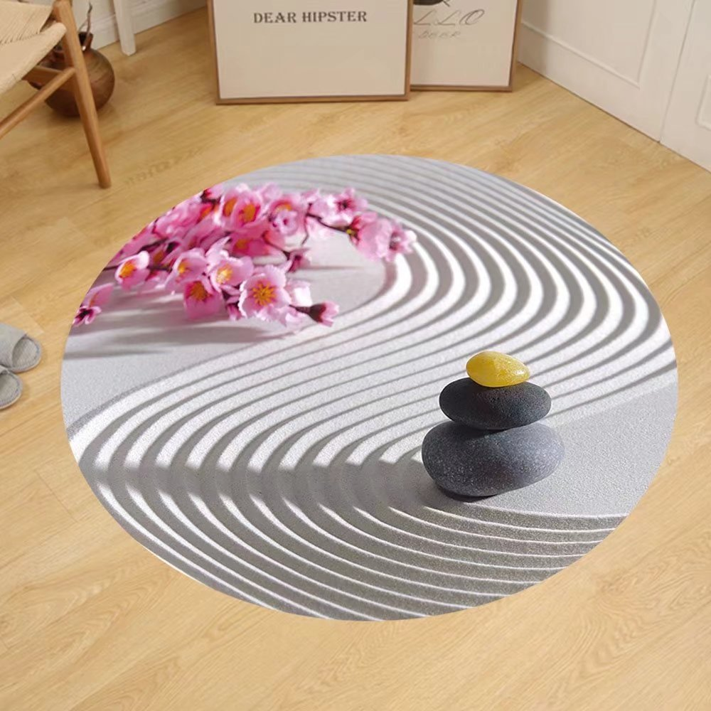 Gzhihine Custom round floor mat Spa Japanese Zen Stones of Meditation Sand with Orchids Relax Yoga Spirit Picture Bedroom Living Room Dorm Pearl Pink Dimgrey