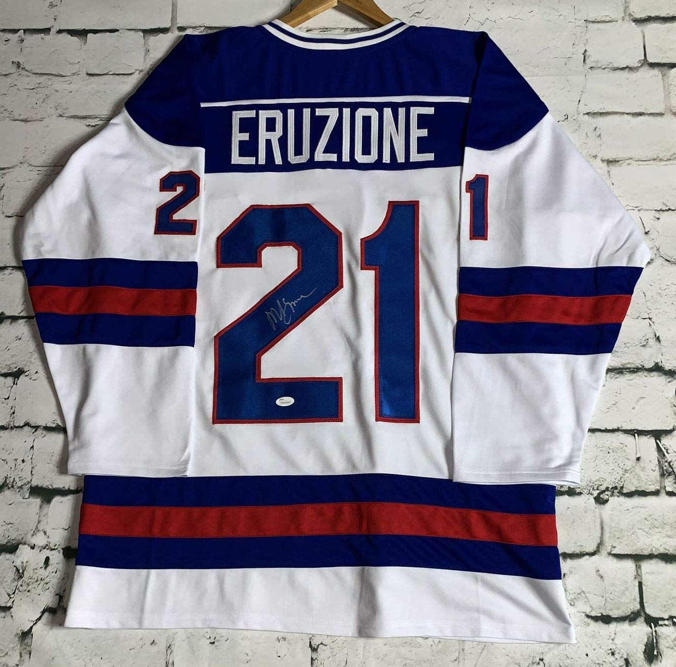 Mike Eruzione Signed Autographed Miracle on Ice Team USA Hockey Jersey -  JSA COA at Amazon s Sports Collectibles Store 90f476d3bff