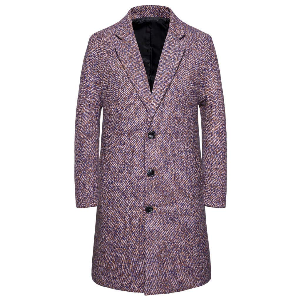 Business Jacket Mens GREFER Casual Slim Single Breasted Trench Coat Fashion Turn-Down Collar Long Outwear Parka Purple by GREFER-Mens
