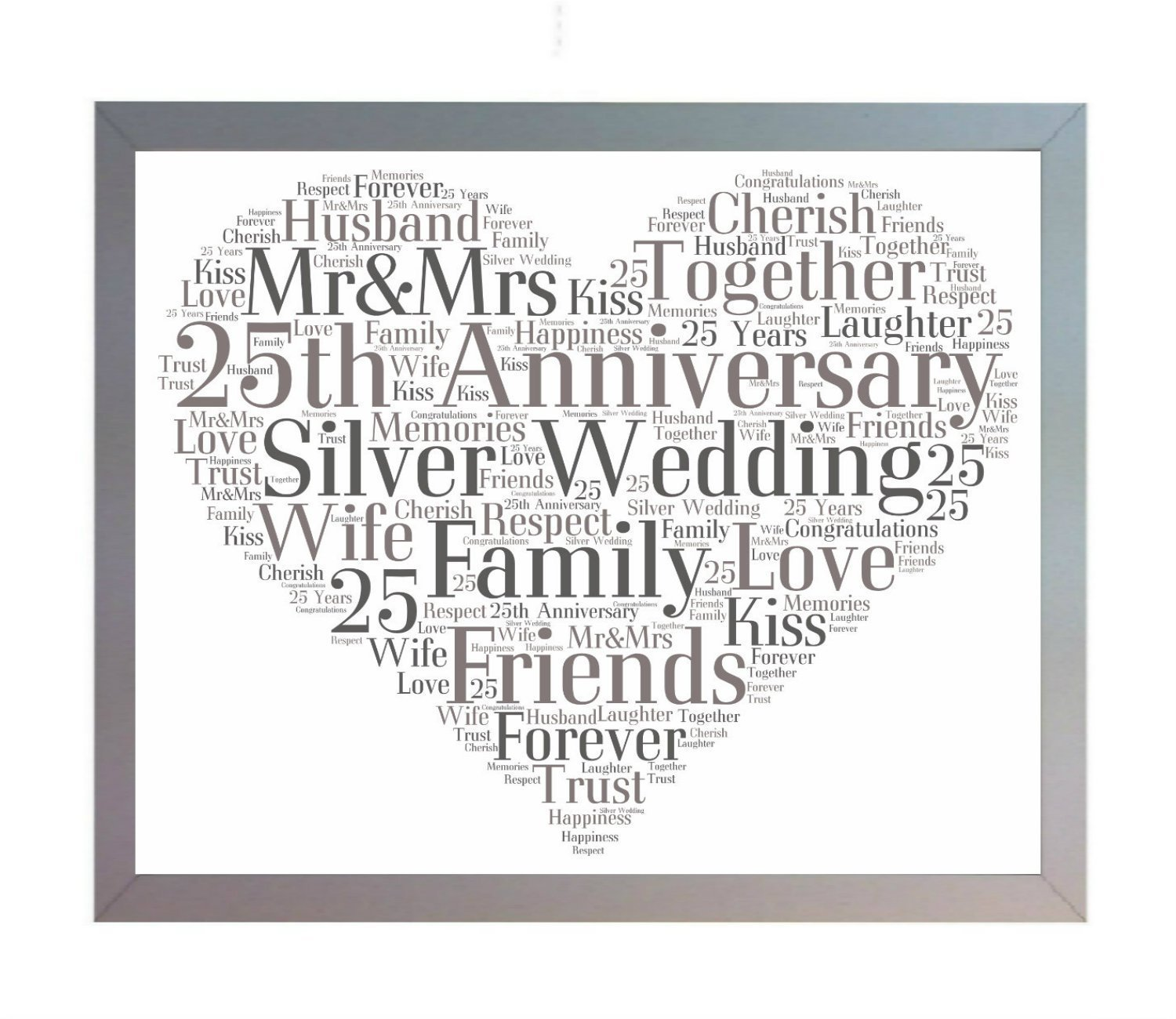 framed 25th silver wedding anniversary heart word art a4 photo picture print keepsake gift for mum dad friend family amazoncouk kitchen home