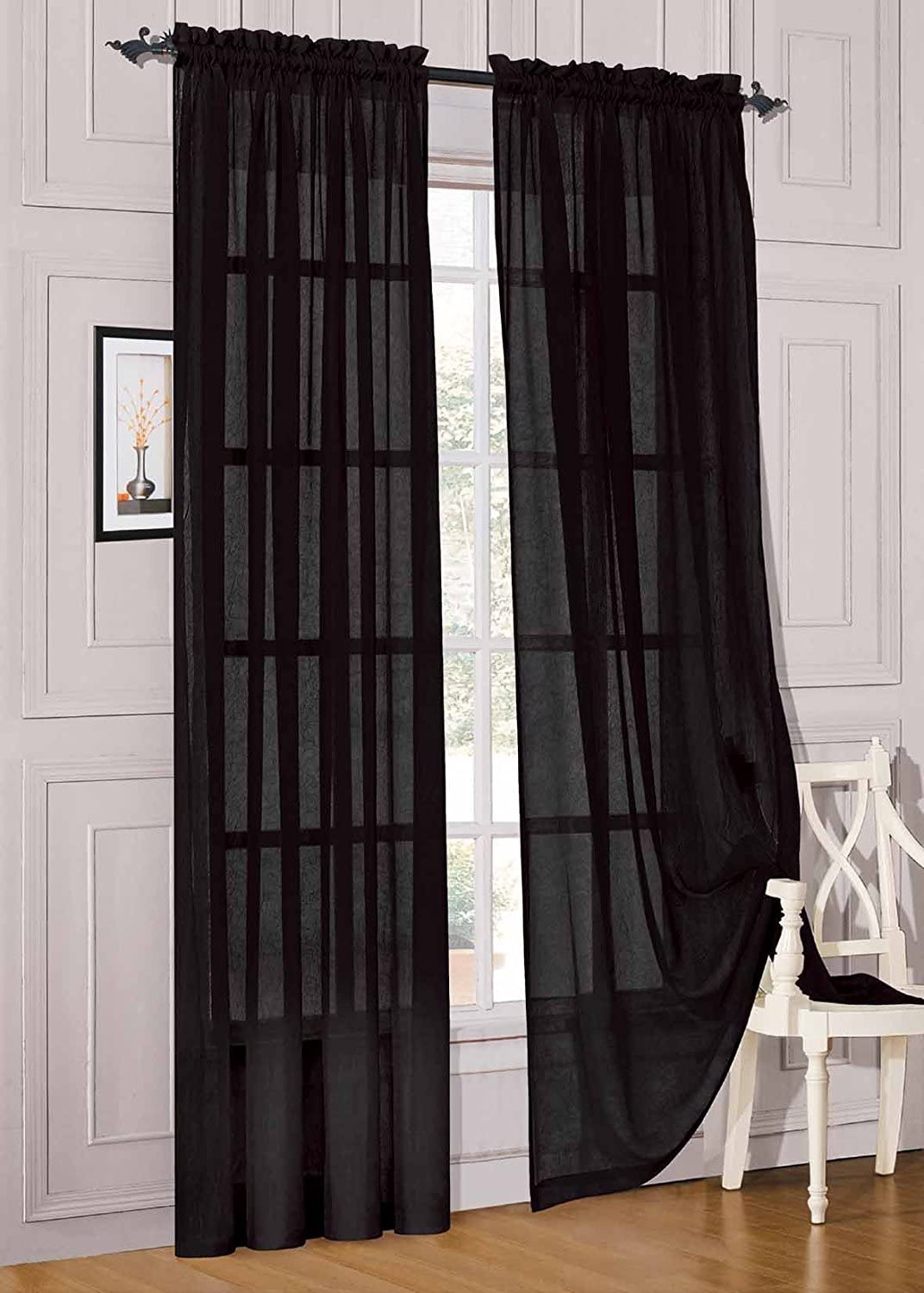 "WPM WORLD PRODUCTS MART Drape/Panels/Treatment Beautiful Sheer Voile Window Elegance Curtains for Bedroom & Kitchen, 57"" inch x 84"" inch, Set of 2 (Black)"