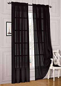"""WPM WORLD PRODUCTS MART Drape/Panels/Treatment Beautiful Sheer Voile Window Elegance Curtains for Bedroom & Kitchen, 57"""" inch x 84"""" inch, Set of 2 (Black)"""