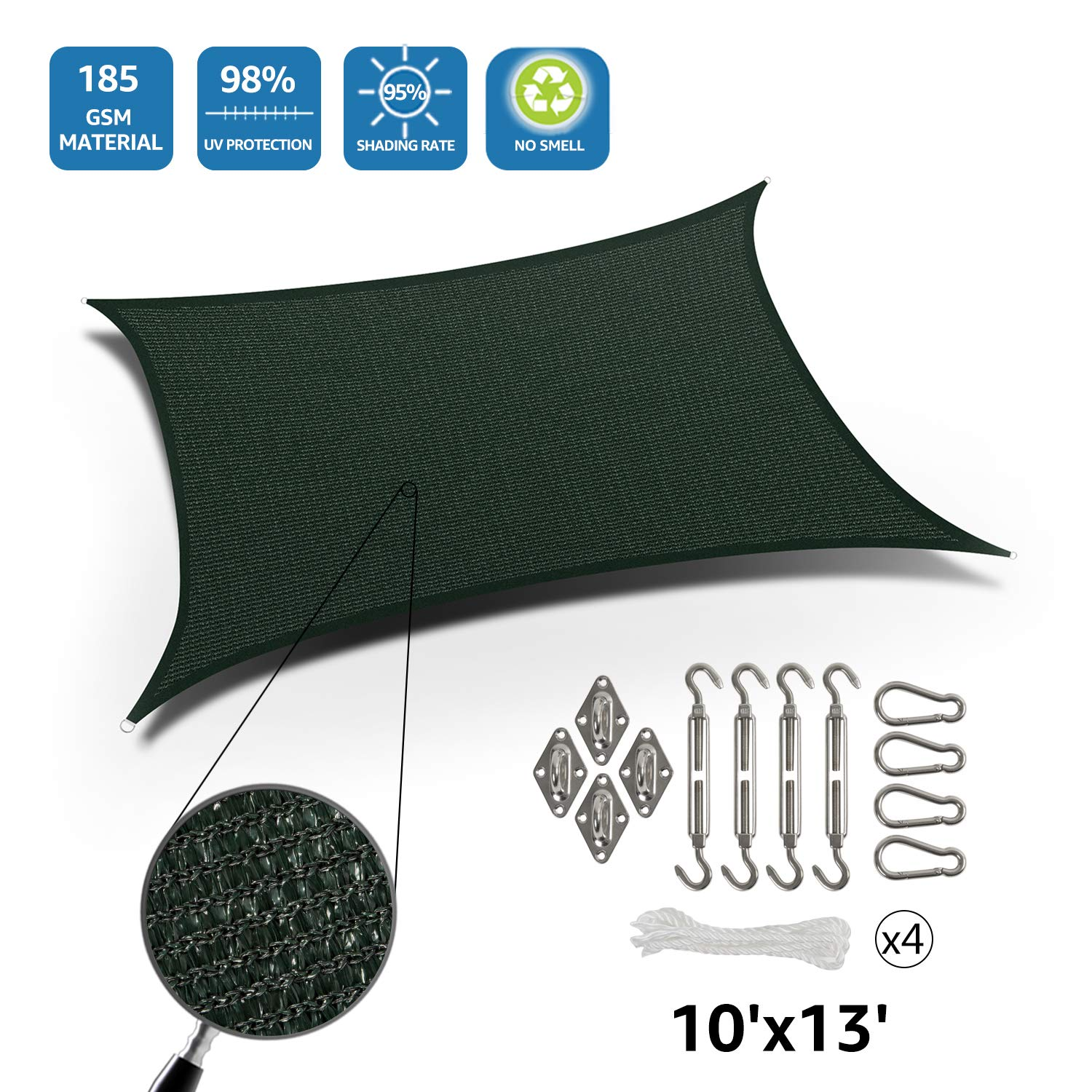 DOEWORKS Rectangle 10' X 13' Sun Shade Sail with Stainless Steel Hardware Kit, UV Block for Outdoor Patio Garden, Green by DOEWORKS