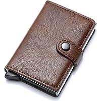 Munixi Credit Card Holder Leather Slim Wallet RFID Blocking Pop Up Aluminum Card Case High Capacity Credit Cards Wallet…