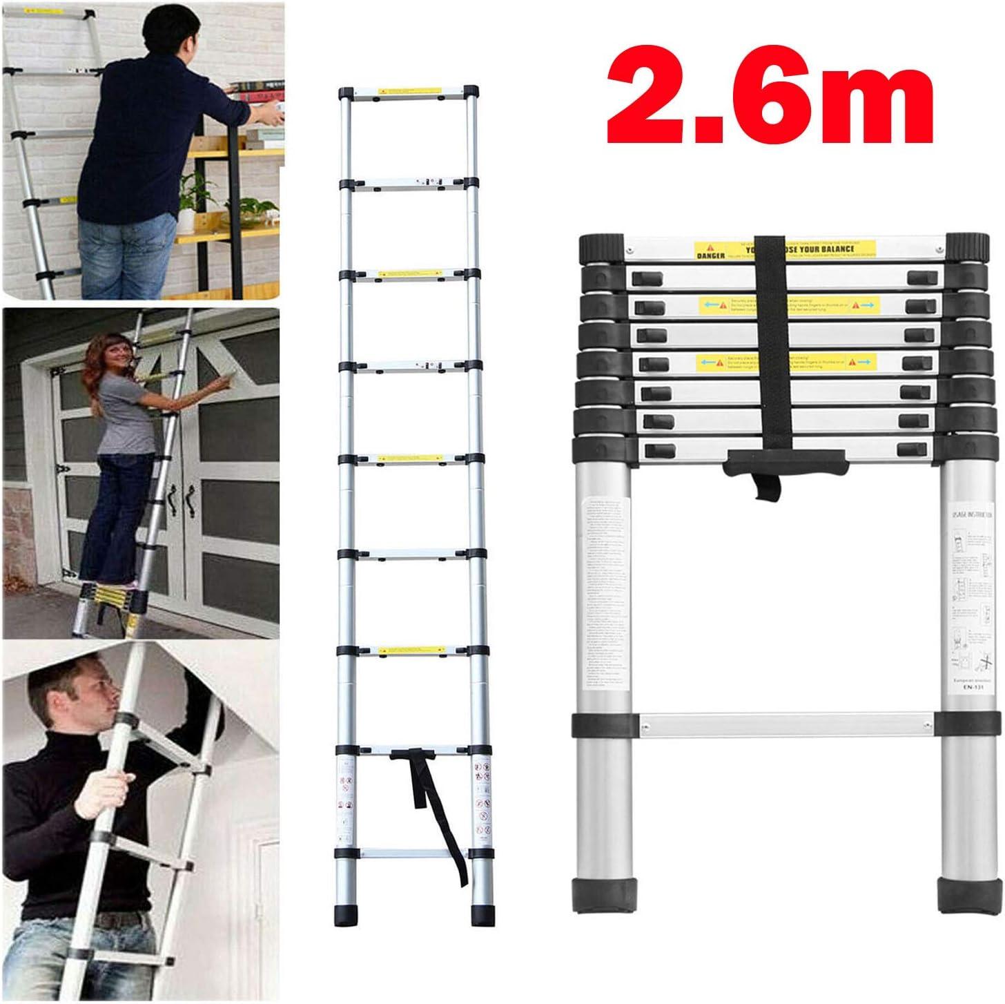 Escalera telescópica de aluminio extensible de 2,6 m, escalera telescópica, multiusos, compacta, resistente, para el hogar, al aire libre, 150 kg de carga máxima: Amazon.es: Bricolaje y herramientas