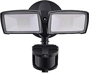 LED Security Lights, 28W 3000LM Motion Sensor Light Outdoor, GLORIOUS-LITE Super Bright 2 Head Outdoor Flood Light, 5500K, IP65 Waterproof, ETL Certified for Garage, Yard, Porch - Black