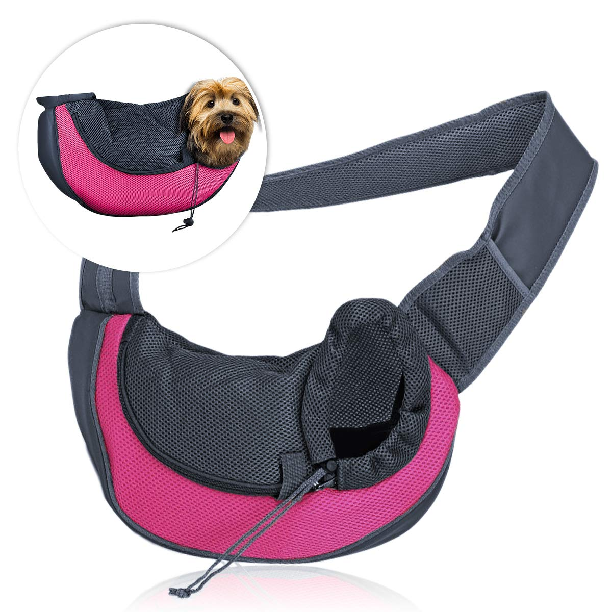 Zone Tech Pet Sling Bag Carrier - Premium Quality Adjustable Breathable Safe Stylish Travelling Pet Hands-Free Sling Bag Perfect for Small Dogs and Cats by Zone Tech