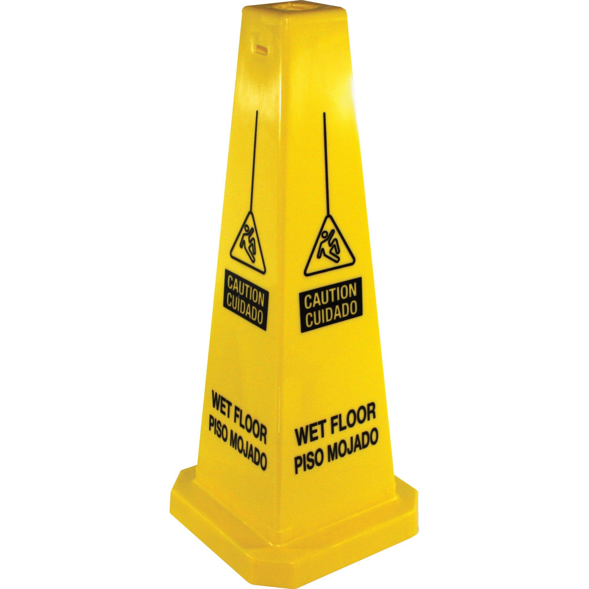 Genuine Joe GJO58880 Four Sided Safety Cone, 10'' x 10'' x 24''