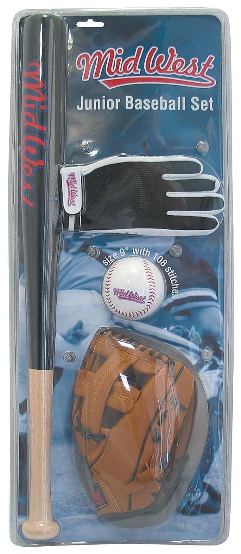 Midwest Set de baseball junior Noir/marron/Blanc Batte 61 cm/Gant 24 cm/Balle 23 cm B004ZBCA1M