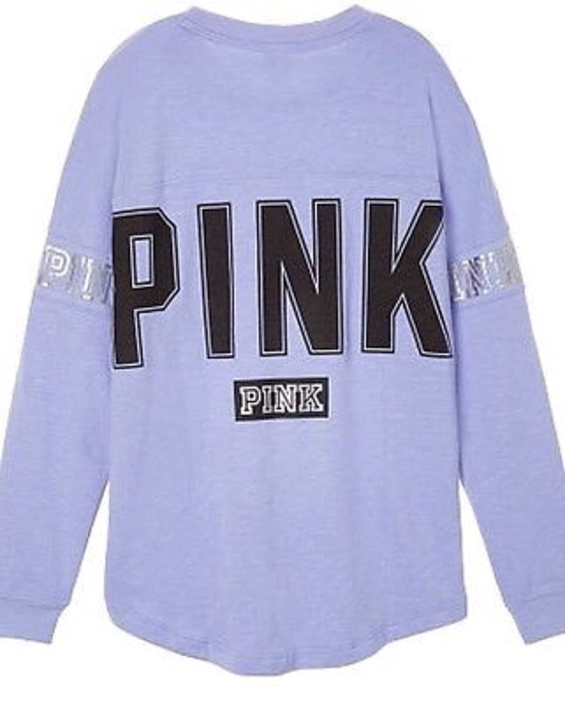 Victoria's Secret Pink Varsity Crew Oversized Sweatshirt Medium Light Purple by Vs Pink