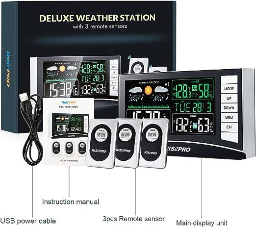 RISEPRO Station météo météo sans Fil avec 3 capteurs in//Out pour Alarme de...