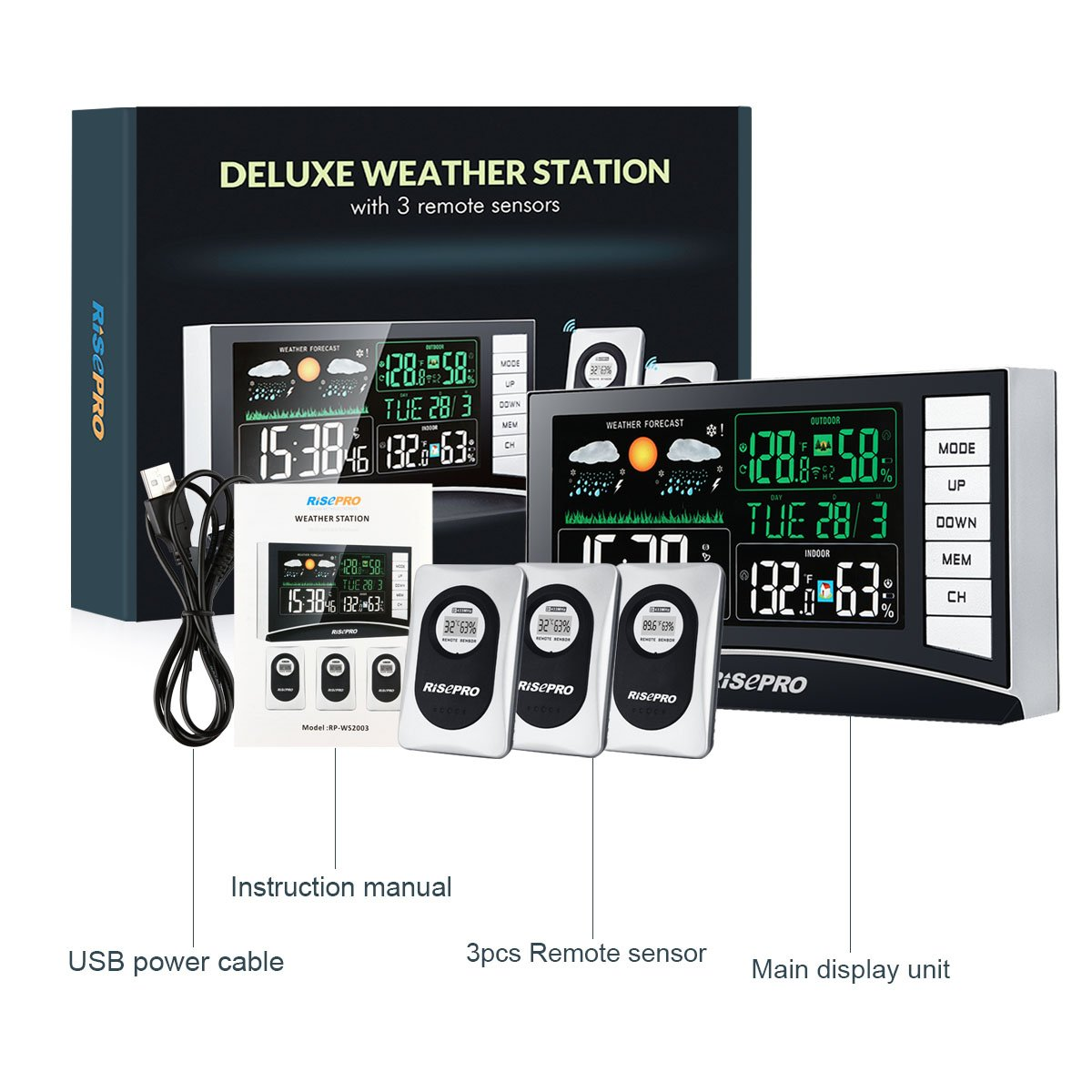 RISEPRO Weather Station, Wireless Weather Station with 3 Sensors in/Out Temperature and Humidity Alarm Clock Calendar Weather Forecaster with Color Led Display RP-WS2003 by RISEPRO (Image #7)