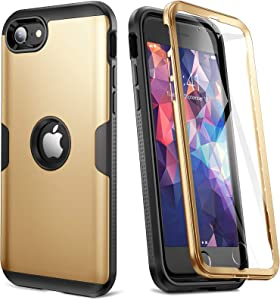 [2020 Upgraded] YOUMAKER iPhone SE 2020 Case, Full Body Rugged with Built-in Screen Protector Heavy Duty Protection Slim Fit Shockproof Cover for iPhone SE 2020 Case 4.7 Inch (2020) - Gold